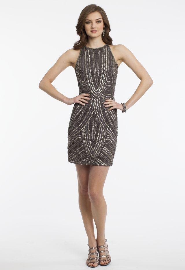 Short Beaded Dress with Cutaway Sleeves from Camille La Vie and ...