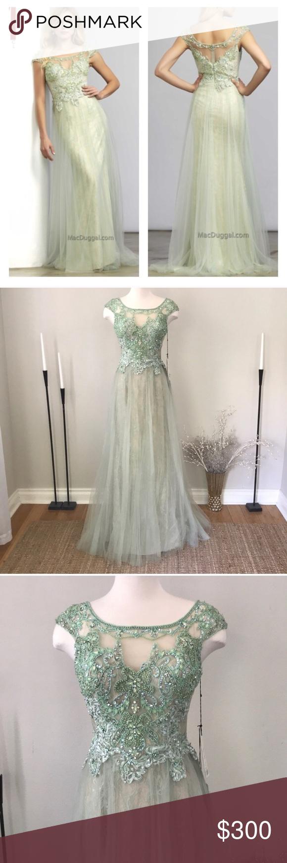 Lace wedding dress under 300  Mac Duggal green lace beaded dress NWT NWT  My Posh Closet