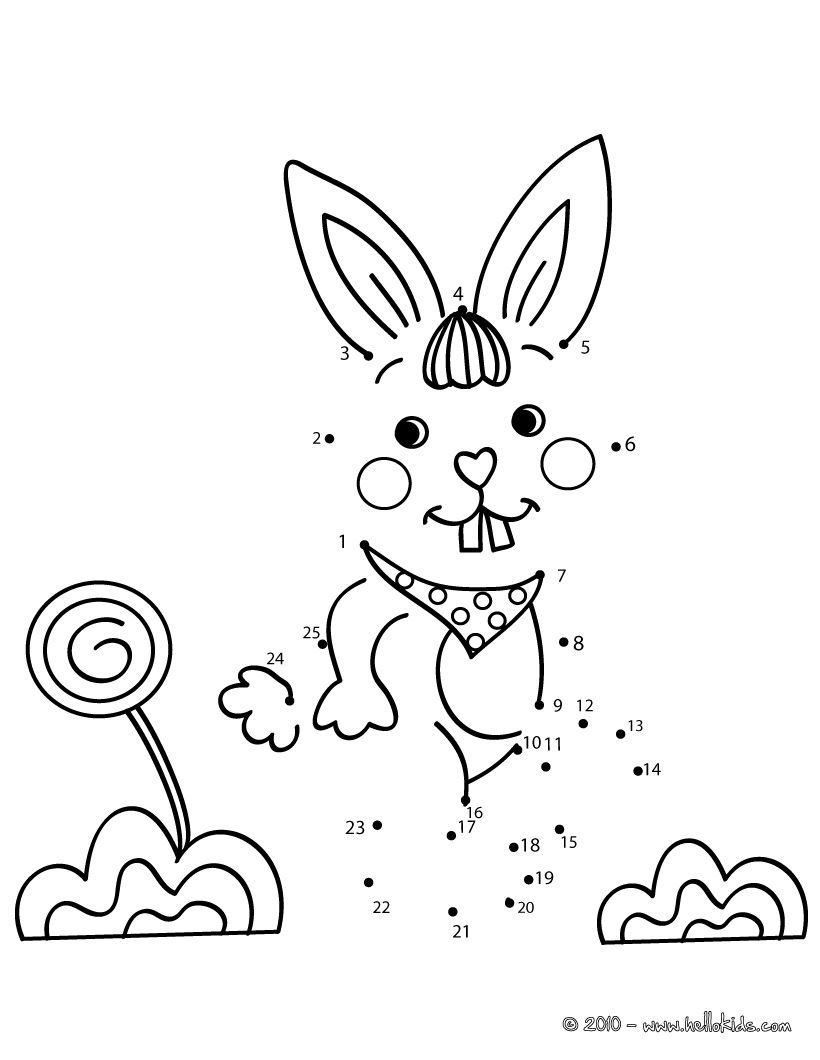 Rabbit do to dot game printable connect the dots game | Coloring and ...