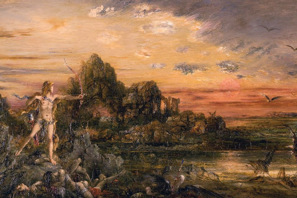 Gustave Moreau, (French 1826 - 1898), Hercules and the Stymphalian Birds, ca. 1872. Oil on panel, 7 X 11 1/2 inches. Gifts of Elizabeth S. Colie, Mrs. Ruth Britten (Ruth Rutchik, class of 1958) and Mrs. Harold Deutsch (Barbara Chobot, '56) by exchange.