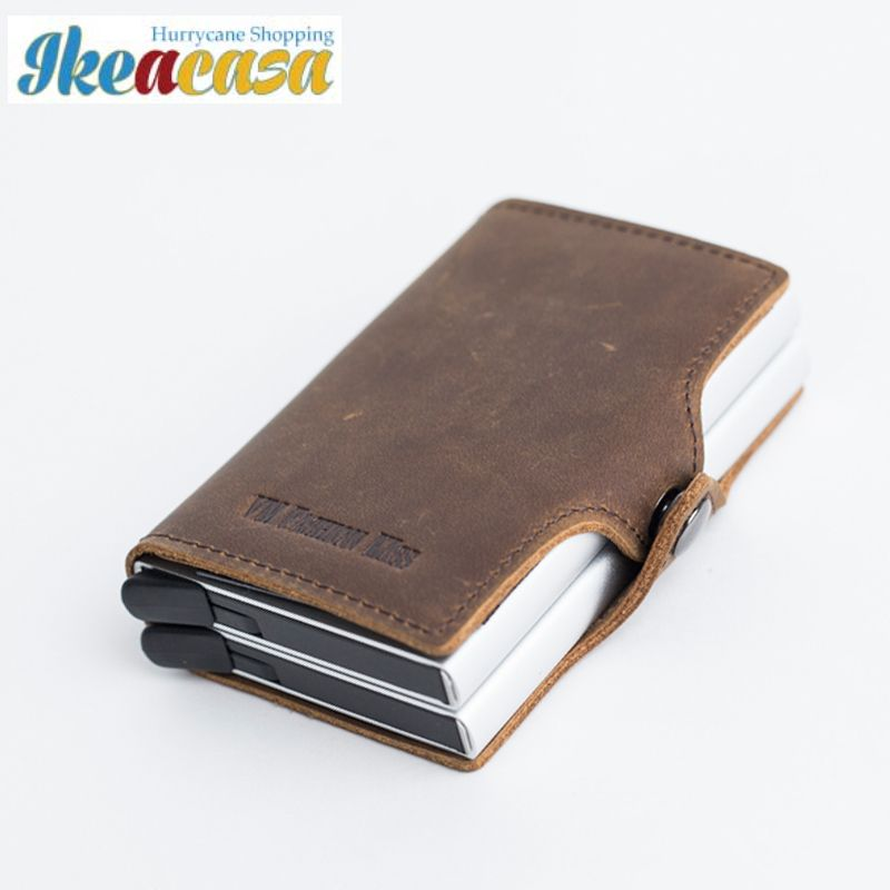 66f82f451425 I-Clip anti RFID Crazy Horse Leather Mini Wallet Security ...