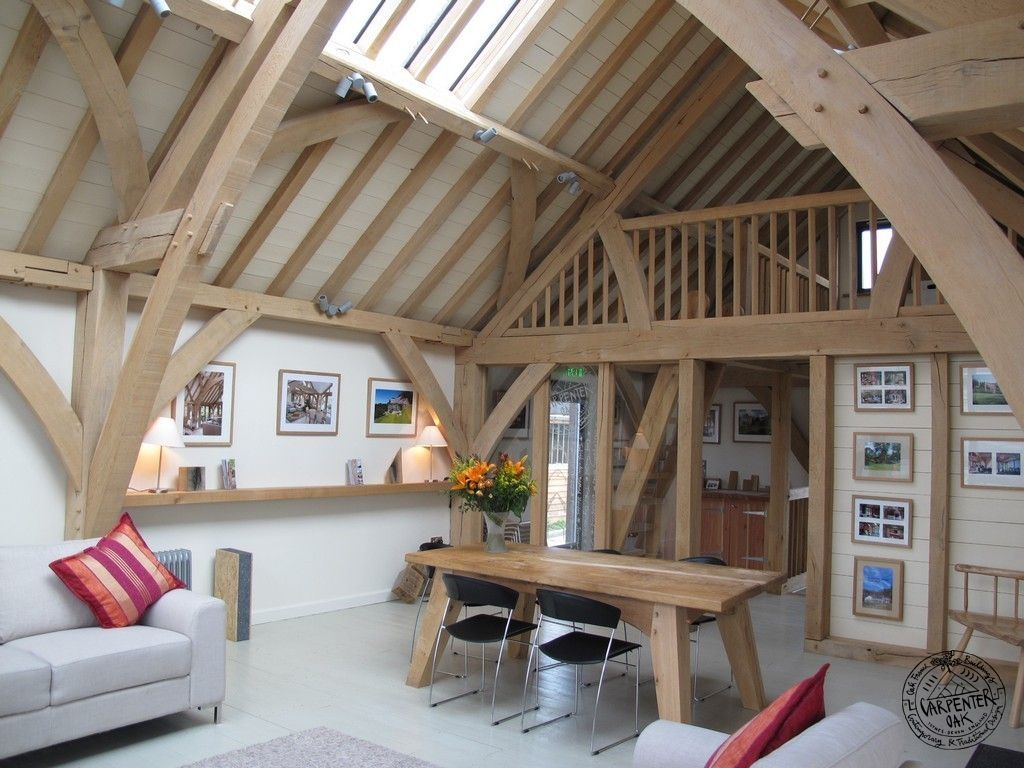 Timber frame loft conversion with glazed gable end by Carpenter Oak Ltd. |  timber frames | Pinterest | Carpenter, Lofts and Attic
