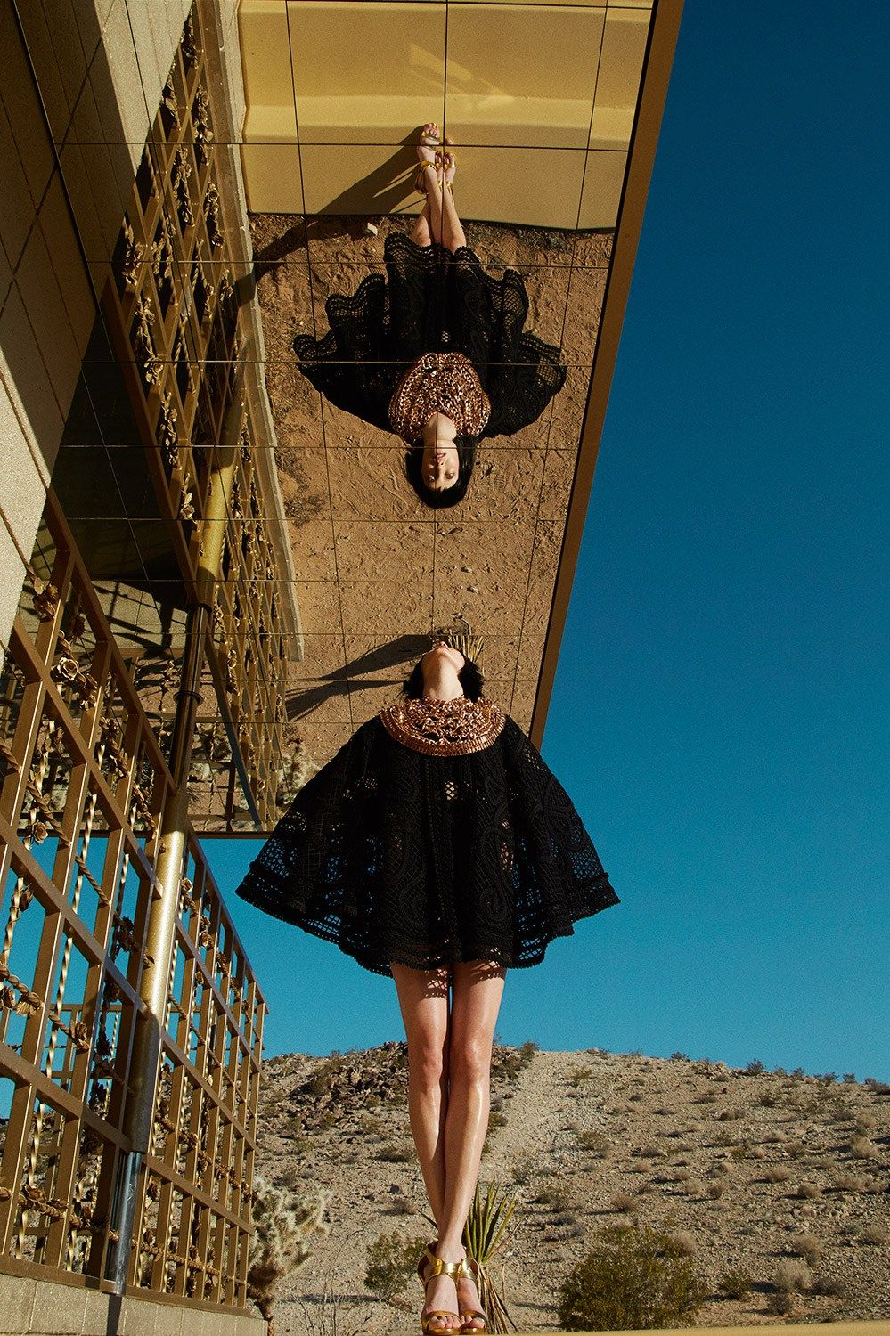 Vogue Taiwan metallic desert mirror fashion editorial with model Diana Moldovan | NEW YORK FASHION BEAUTY PHOTOGRAPHER- EDITORIAL COMMERCIAL ADVERTISING PHOTOGRAPHY