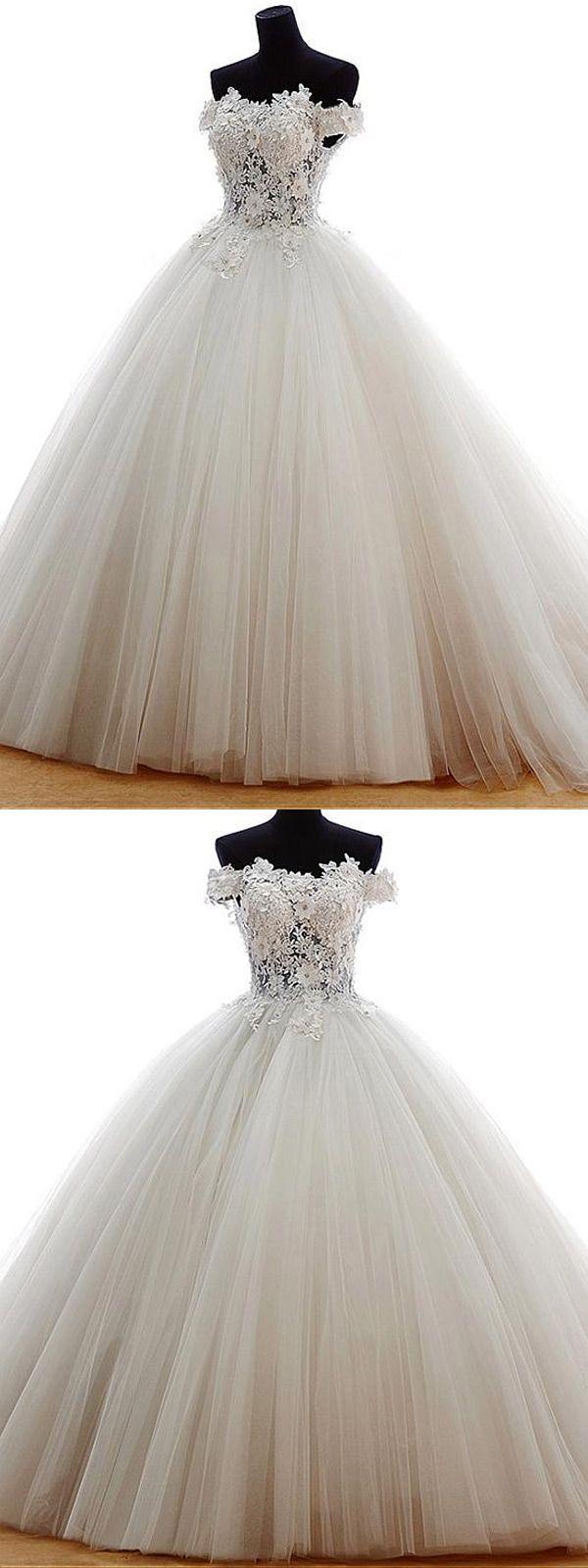 Marvelous tulle offtheshoulder neckline ball gown wedding dress