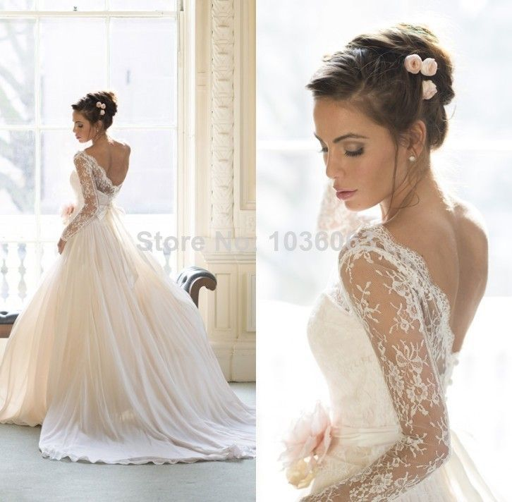 Vestido De Novias Sheer Lace Long Sleeves Open Back Princess Ball ...