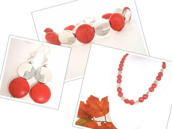 Fall Jewelry Set  red necklace bracelet & by BijouxDesignsStudio, $68.00