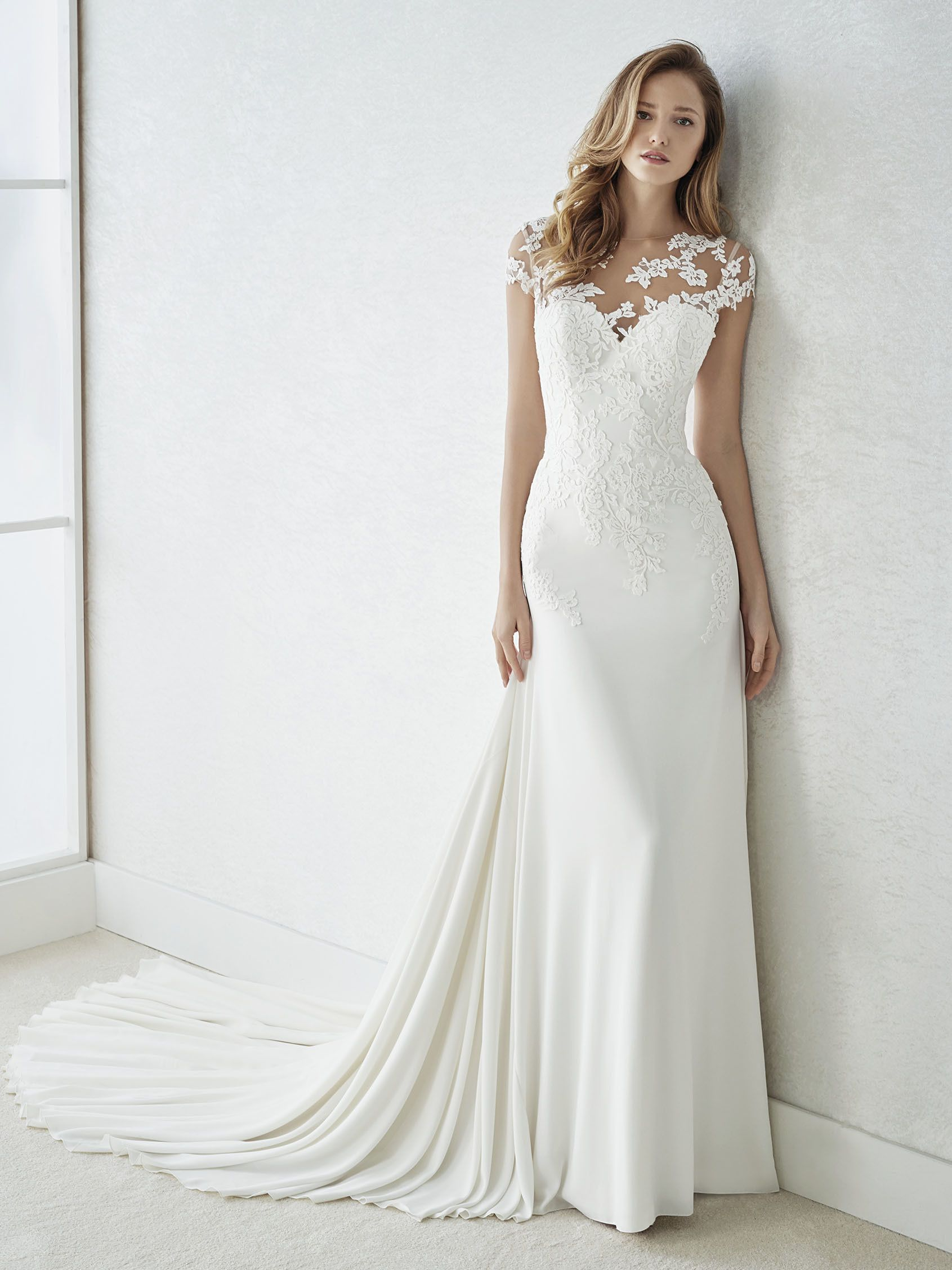 Finlandia Short Sleeve Wedding Dress With Very Sexy Illusions St