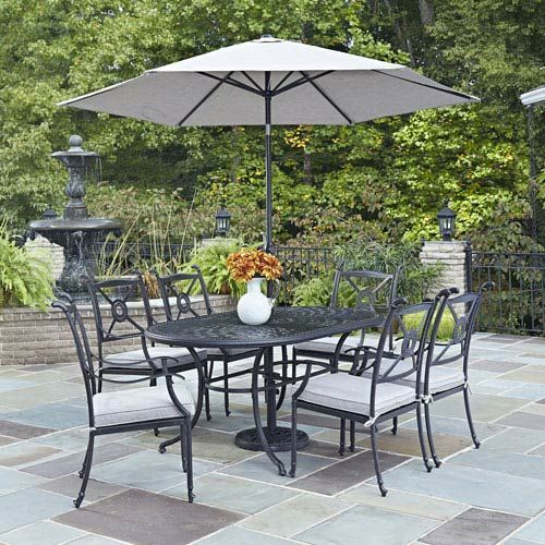 Home Styles Furniture 5569-3386 Athens 71.25 x 41.5 in. 7-Piece Outdoor Dining Set w/ Umbrella in Charcoal Black, Transitional   Bellacor -  Home Styles Furniture 5569-3386 Athens 71.25 x 41.5 in. 7-Piece Outdoor Dining Set w/ Umbrella in C - #7Piece #Athens #Bellacor #black #Charcoal #dining #DiningRoomDesign12 #furniture #Home #InteriorPaintColors #ModernDecoration #Outdoor #Set #styles #Transitional #TransitionalDecor92 #Umbrella