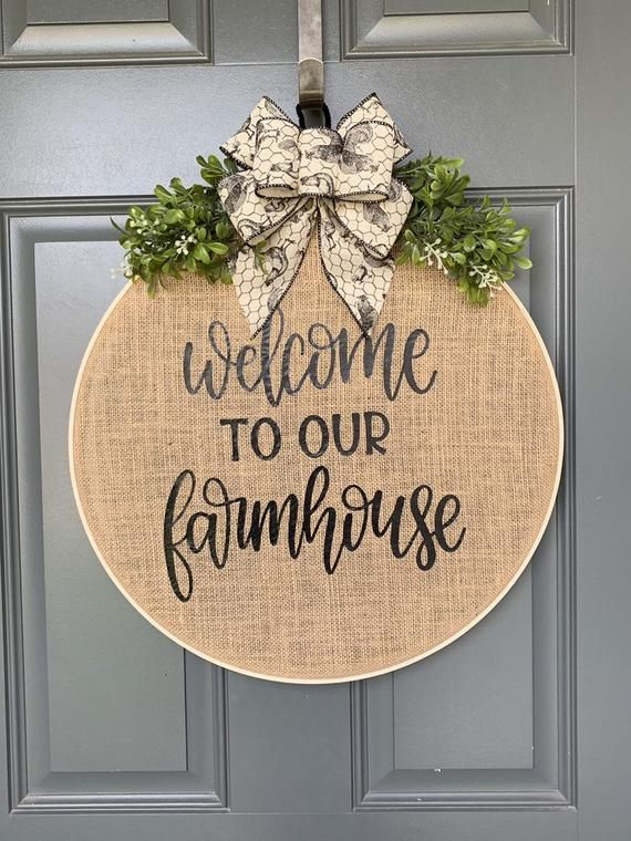 Photo of Wreaths for front door, Farmhouse, Fall Wreaths for Front Door, Burlap Wreath, Hoop Wreath, Wreaths for Front Door, Spring Wreath, Door Deco