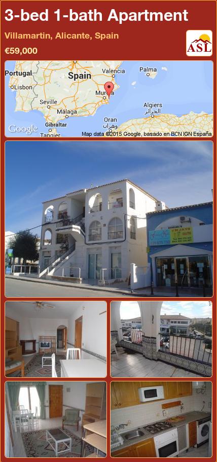 3-bed 1-bath Apartment in Villamartin, Alicante, Spain ►€59,000 #PropertyForSaleInSpain