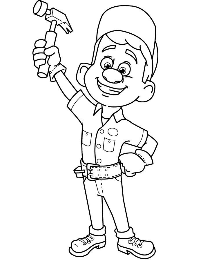 Wreck It Ralph Coloring Page Fix It Felix Disney Coloring Pages