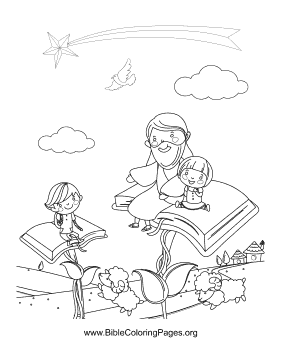This fanciful coloring page features Jesus sitting with