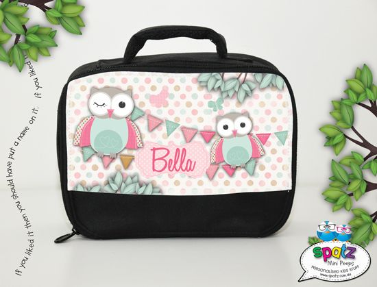 Pastel owls personalised insulated kids lunch bag