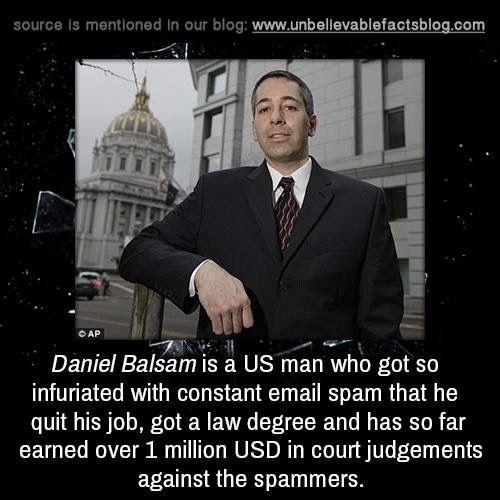 Daniel Balsam | Unbelievable facts, Fun facts, Facts
