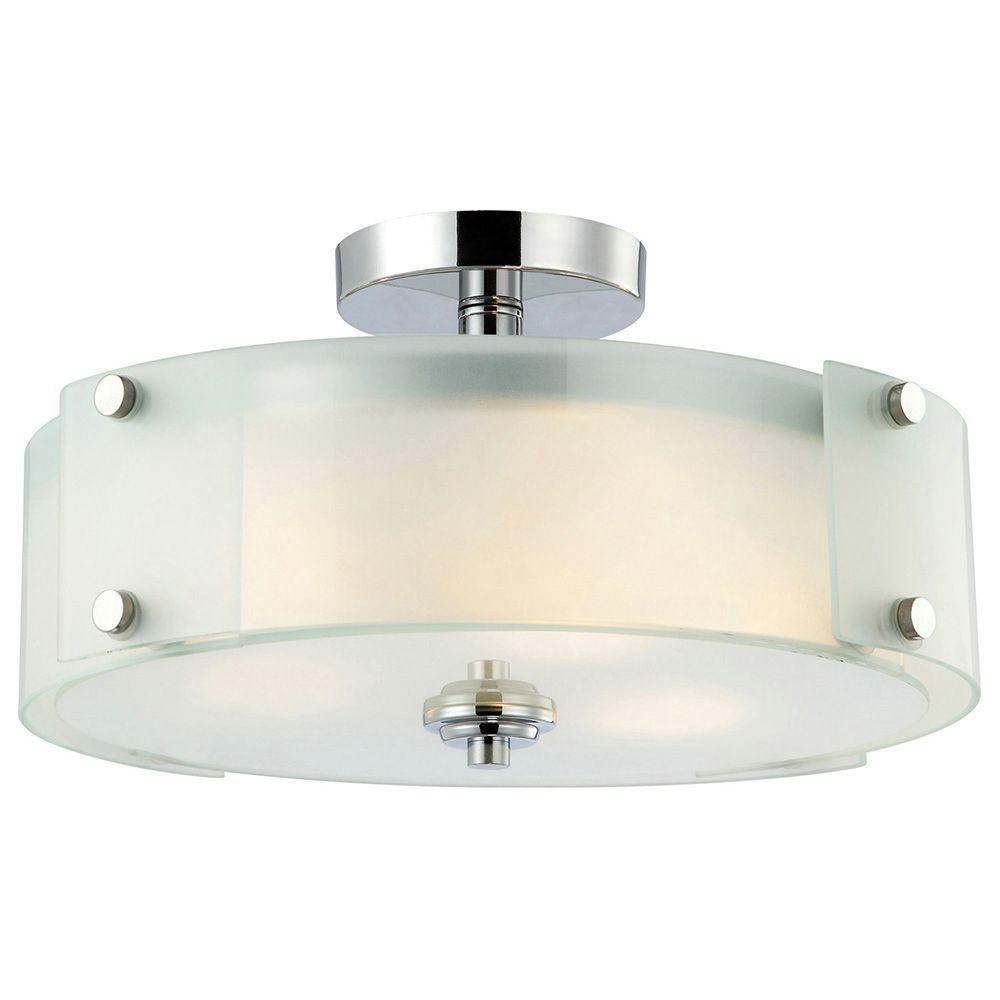 Canarm Scope 3 Light Chrome Semi Flush Mount Light With Frosted Glass Ifm315b15ch Hd The Semi Flush Ceiling Lights Flush Lighting Flush Mount Ceiling Lights