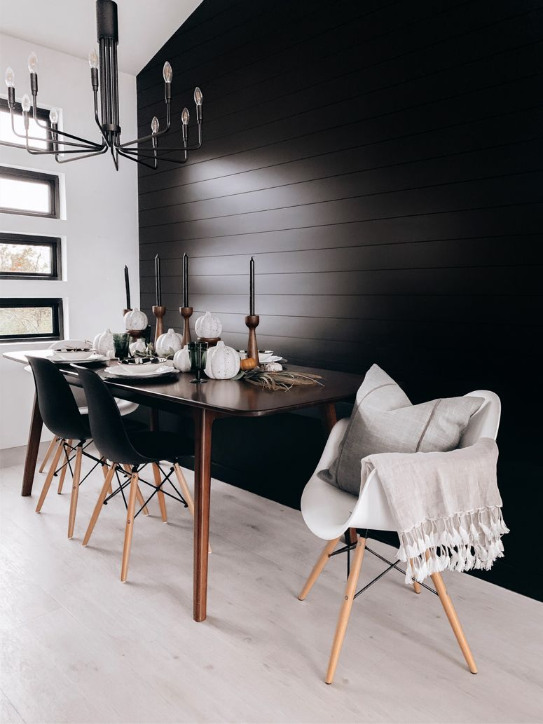 Modern Eclectic Scandinavian Dining Room With Black Shiplap Wall And Bench Decorated For Fall Scandinavian Dining Room Black Dining Room Dining Room Accents
