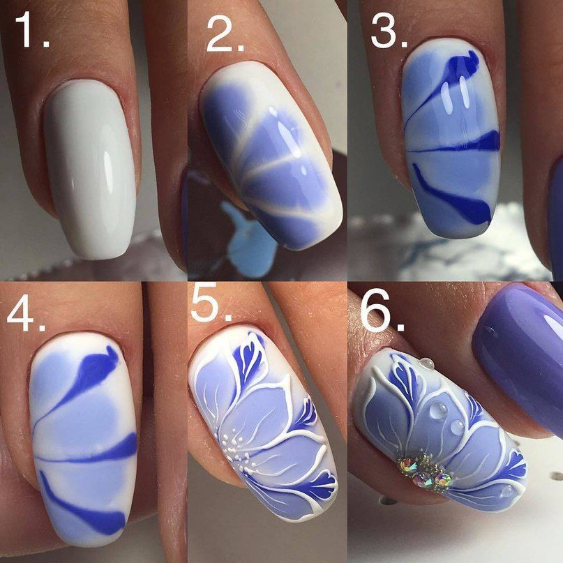 Super Easy Flower Nail Design Gel Nails Nail Design Pinterest