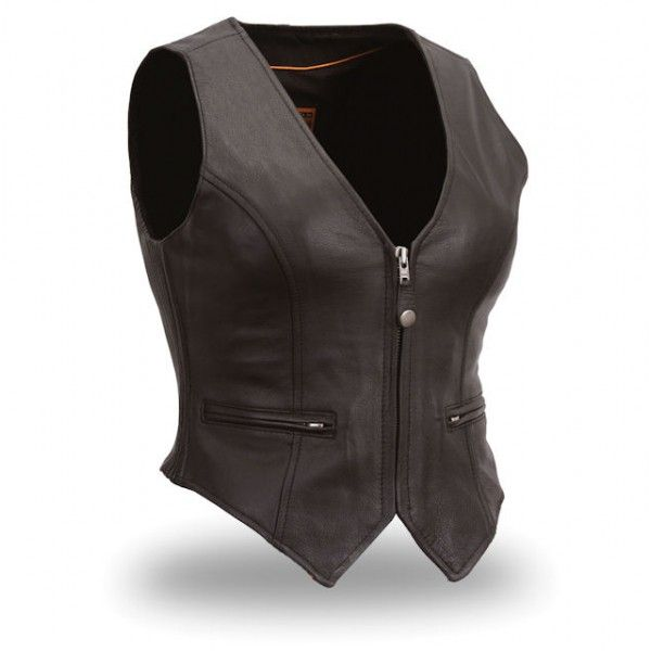 Leather Motorbike women vest Oscar Leather Jackets