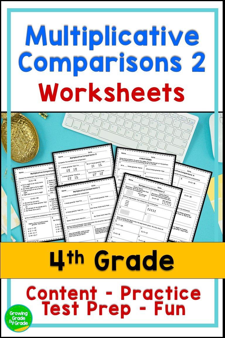 Multiplicative Comparisons Work Sheets 2 In 2020 Common Core Math Standards Common Core Math Common Core Standards List