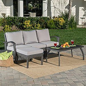 Maui Patio Furniture 5 Piece L Shaped Outdoor Wicker Sectional Sofa Set Grey Silver Lawn Garden