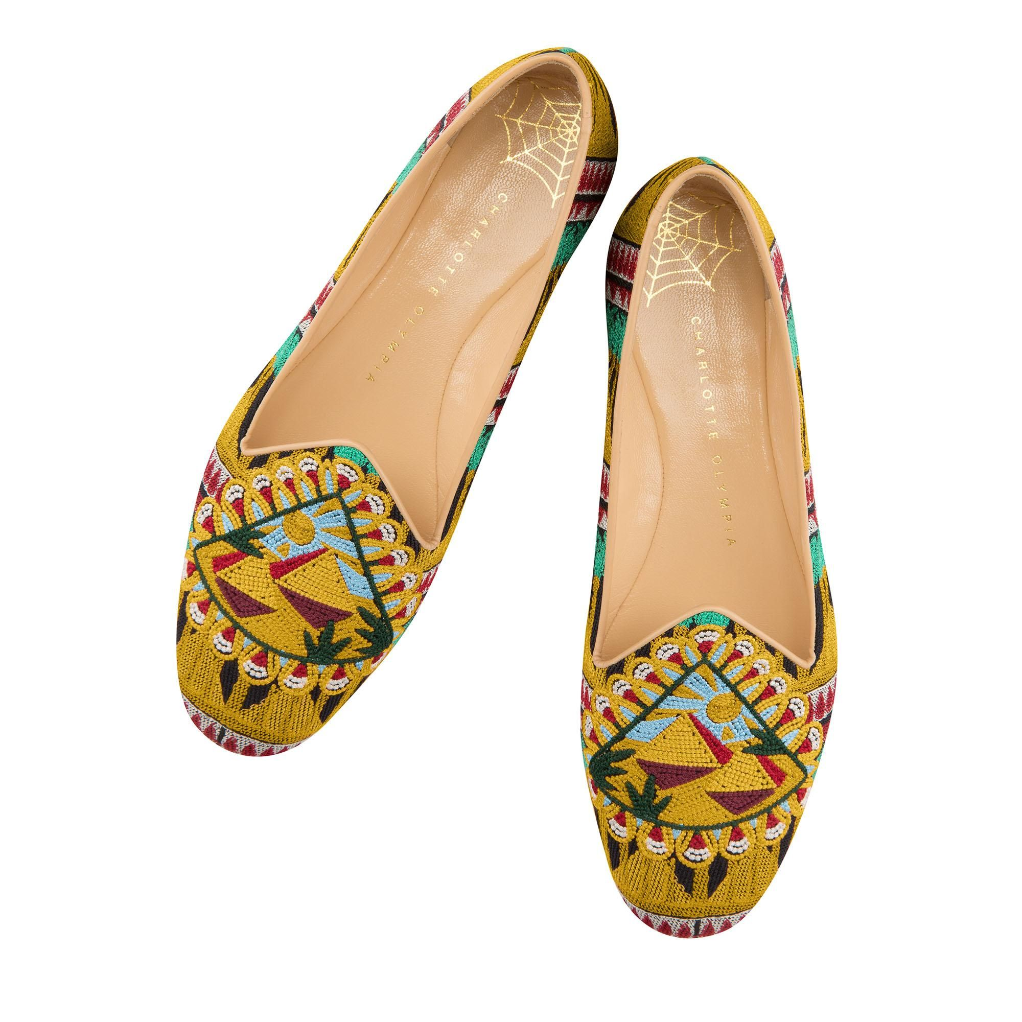 The Pyramid Slipper brings a touch of ancient mystery to your look. In a rich, colourful embroidery pattern, the pyramids cast their magnificent shadows under the blazing sun. Charlotte Olympia SHOES