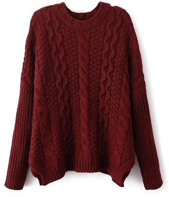 ZLYC Women's Classic Cable Knit Batwing Sleeves Pullover Sweater (Wine red) at Amazon Women's Clothing store: