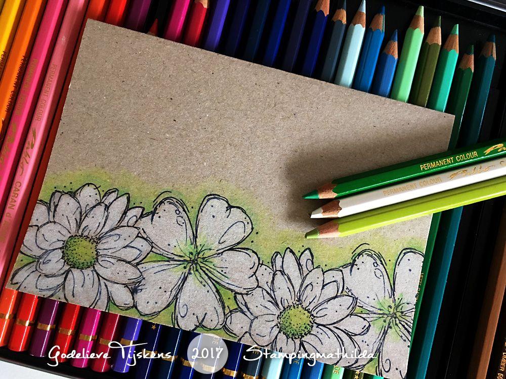I always love the look of colored pencils on kraft cardstock. Simple but effective. Nu en dan maak ik een simpel kraft kaartje: stemp...