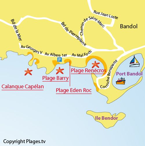 Carte De La Plage Du Barry A Bandol Bandol Plage Plage Calanque