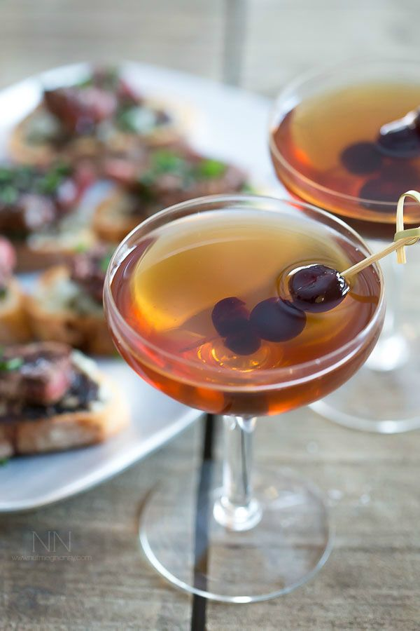 This classic Manhattan cocktail is sure to wet your whistle. Made with rye, sweet vermouth and just a dash of bitters.