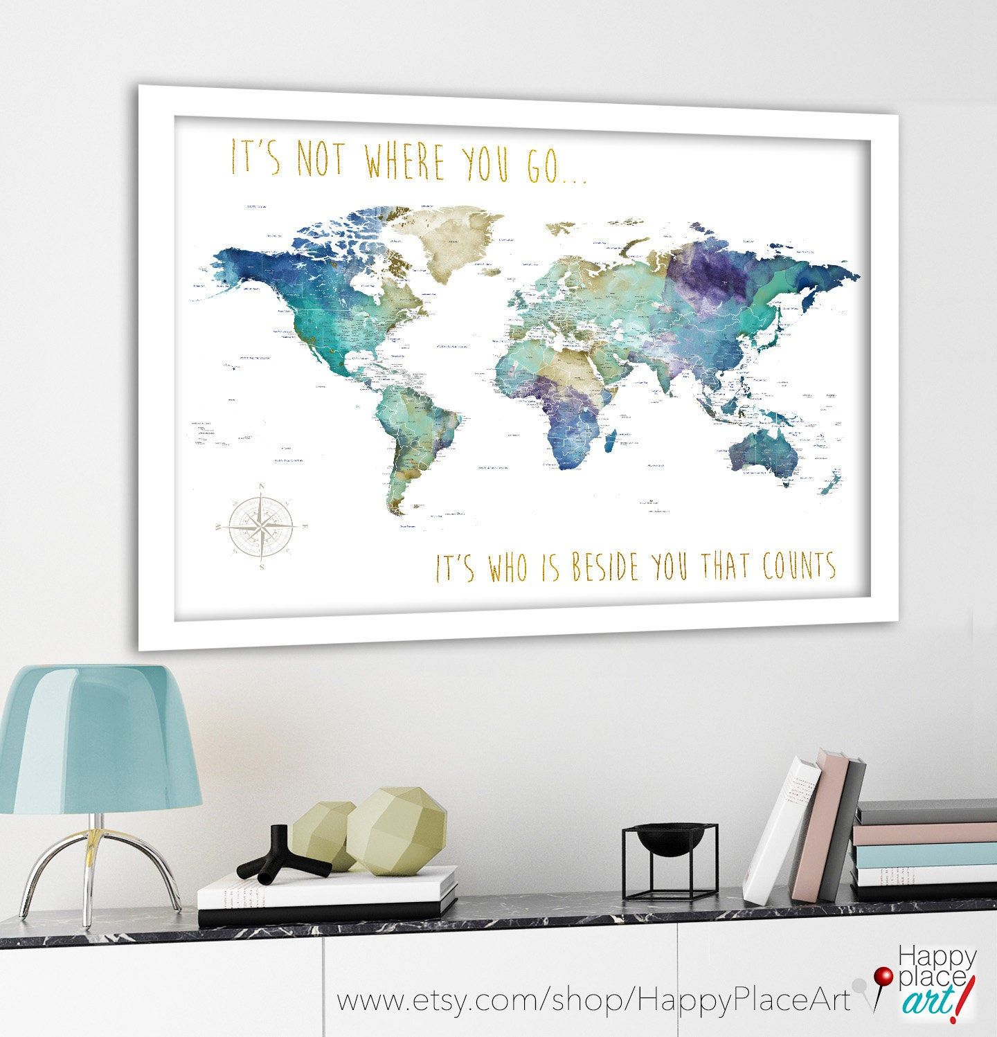 World Map For Wedding Couple Gift, Romantic Travel Map