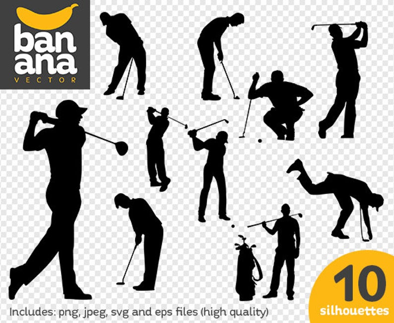 Verkauf Golf Spieler Silhouetten Png Jpg Svg Eps Dateien