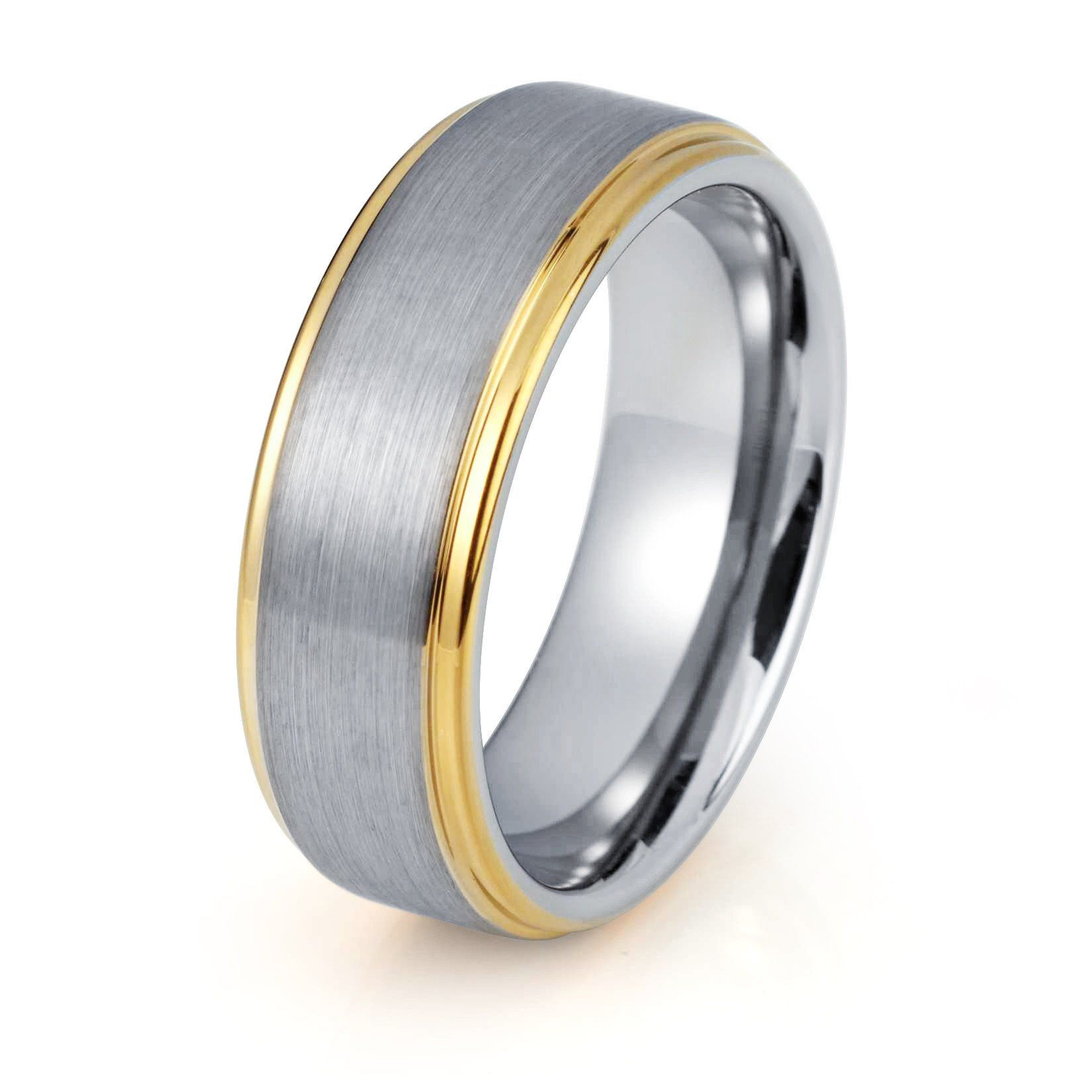 Mens Wedding Band Yellow Gold Ring Brushed Tungsten