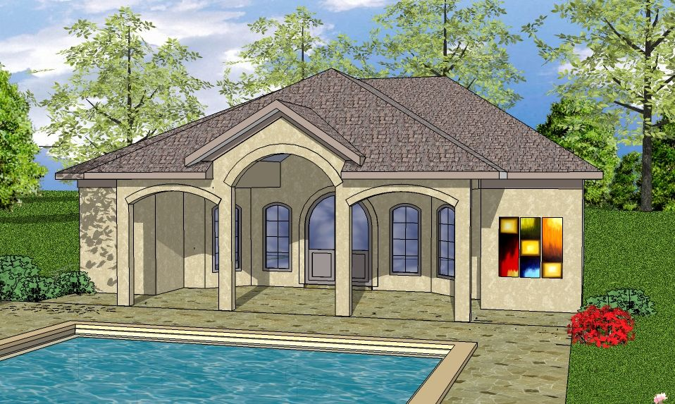 house plan 5062 beachcoastal 1 bedroom 1 bath 723 sq ft design pool house elevation