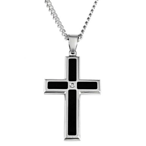 Men's Diamond Accent Stainless Steel Black Resin Cross Pendant, 24""
