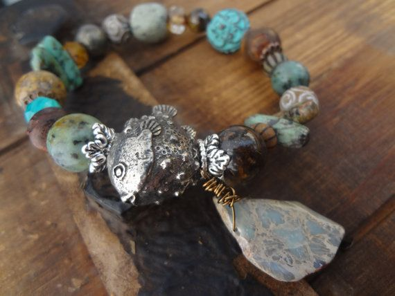 Green Girl Studio Puffer Fish Bracelet, Mixed Gemstone Stretch Bracelet, Fall Fashion, Beach Bracelet, OOAK Gemstones on Etsy, $55.00