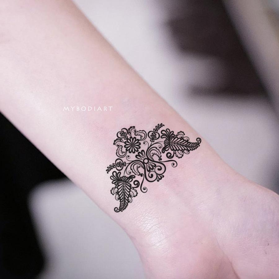 Aponi Black Henna Mandala Temporary Tattoo Tattoos Aztec Tattoo Wrist Tattoos For Women