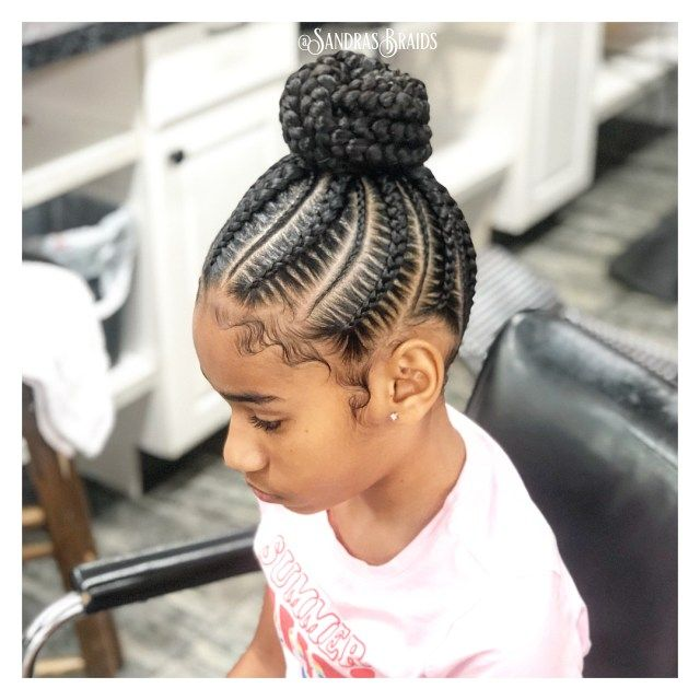 Braided Hairstyles For Black Girls With Perfect Bun Braided Hairstyles For Black Kids Hairstyles African Braids Hairstyles Natural Hair Styles For Black Women