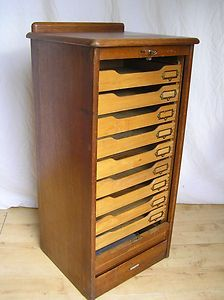Abbess Oak Wooden Vintage Drawers Tambour Filing Cabinet