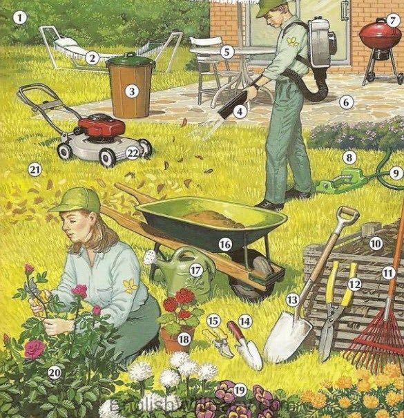 1. hedge, 2. hammock, 3. garbage can, 4. leaf blower, 5. patio ...