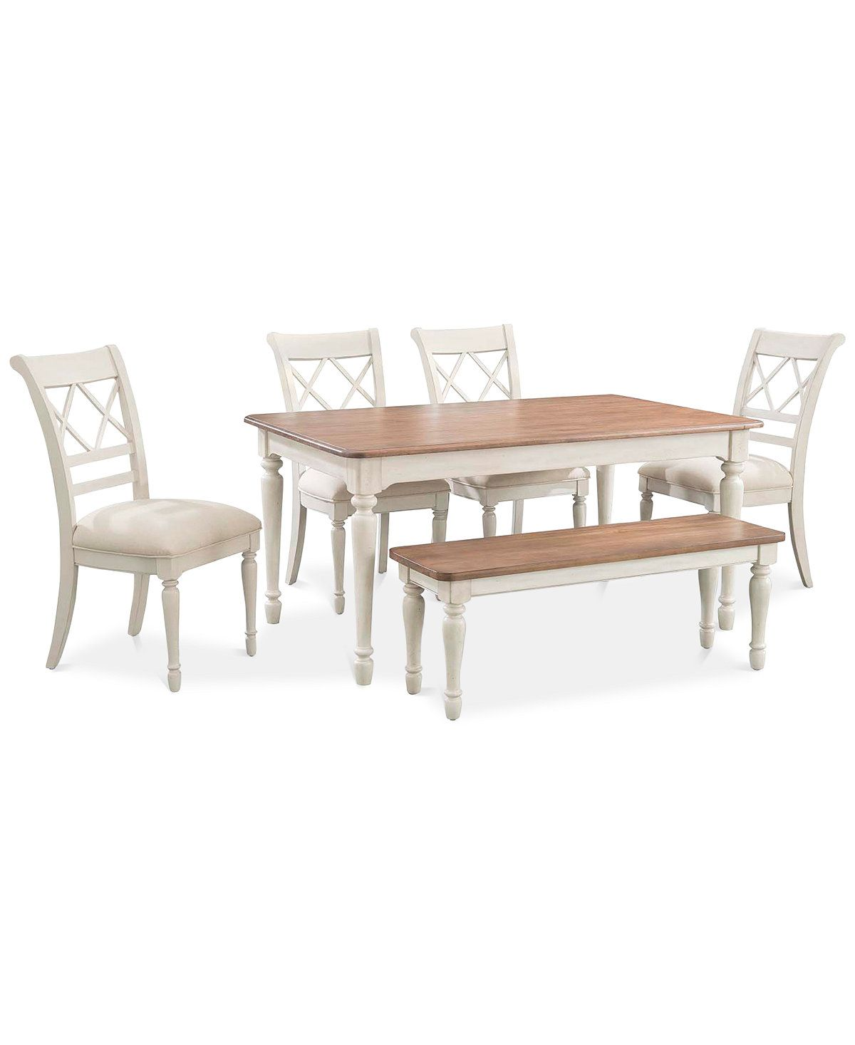 Cape May Dining Set 6 Pc Table 4 Side Chairs Bench Created For Macy S Furniture