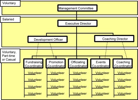 Organisation Structure showing levels of paid and voluntary staff - non profit organizational chart