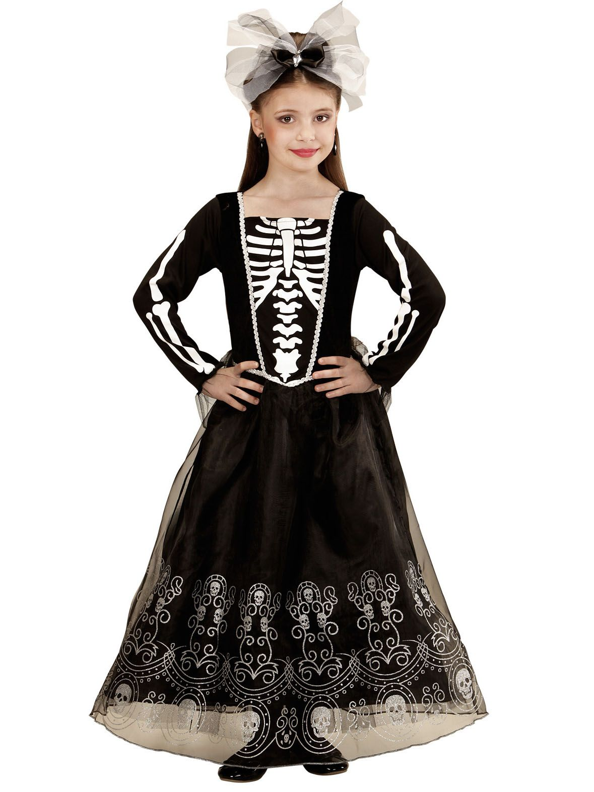 disfraz de esqueleto falda larga nia halloween este disfraz de esqueleto para nia incluye vestido