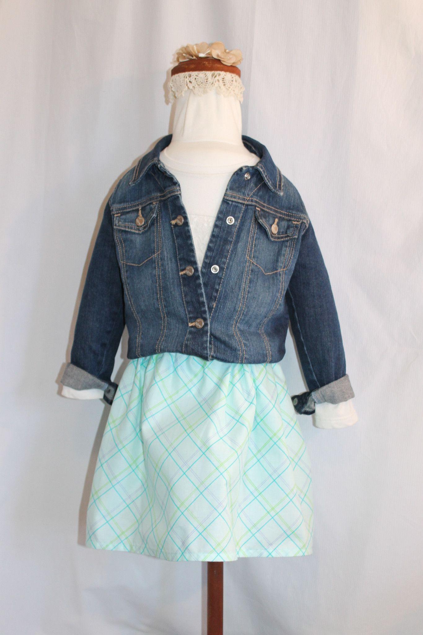 Green with Purple Plaid Girls Handmade Twirl Skirt