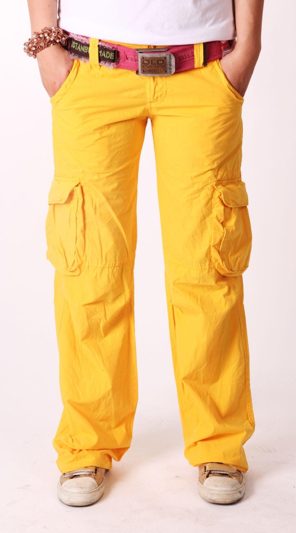 Old Cotton Cargo Woman Cargo Pant Yellow Old Cotton Cargo Bayan ...
