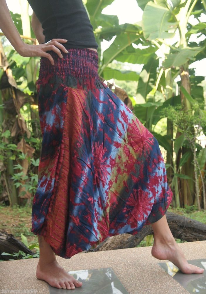 Cotton Tie Dye Harem Trousers Aladdin Alibaba Gypsy Yoga Pants Hippie Hipster