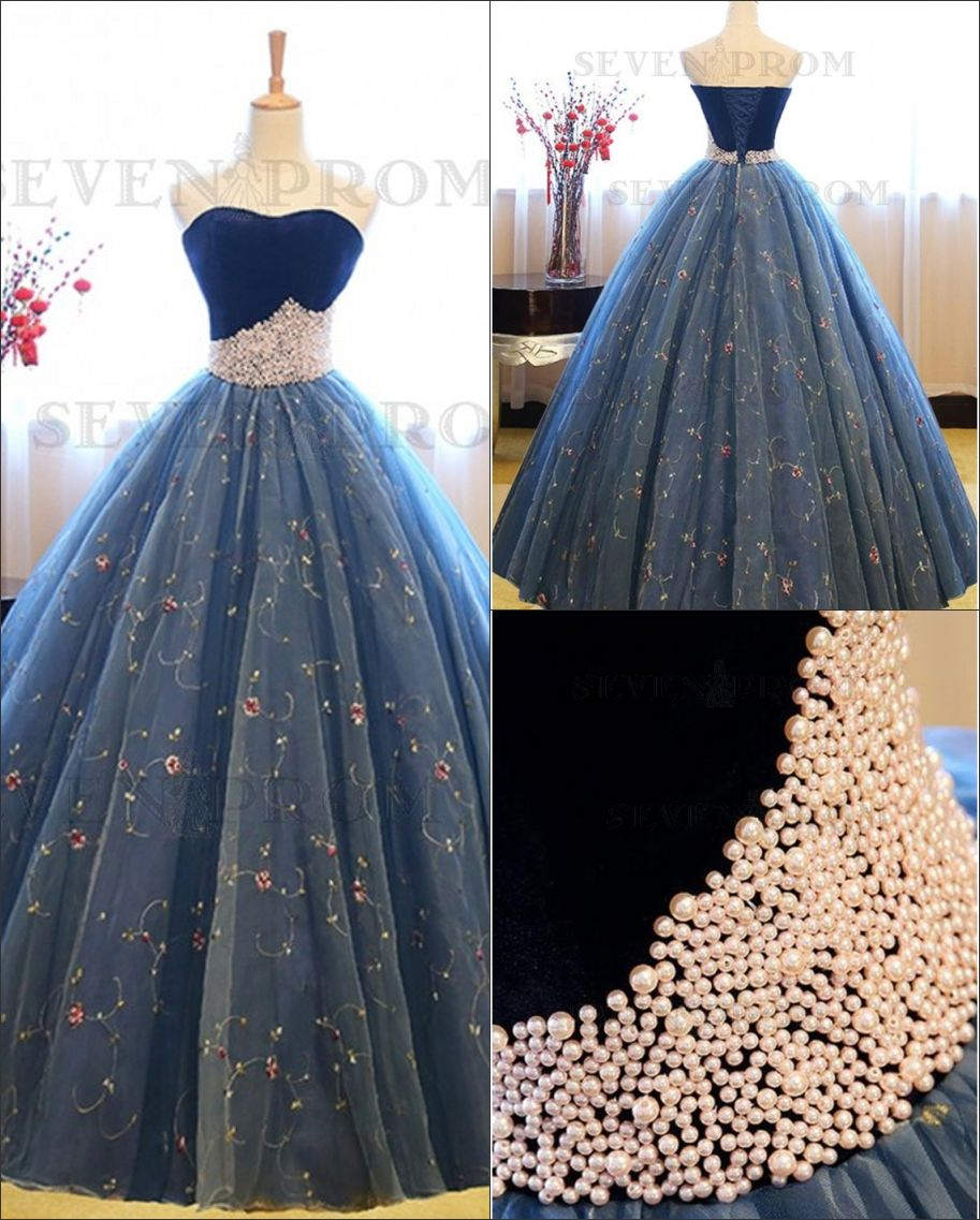 Ball gown sweetheart sleeveless blue lace prom dress with pearls in