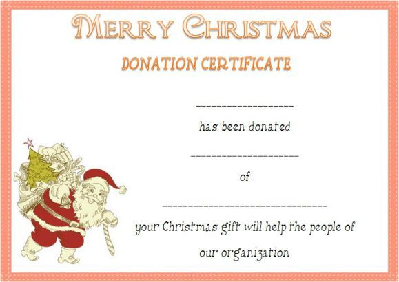Christmas Donation Certificate Template Donation Certificate - best of donation certificate template