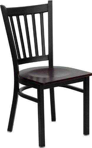 flash furniture xu dg 6q2b vrt mahw gg hercules series black vertical back metal restaurant. Black Bedroom Furniture Sets. Home Design Ideas