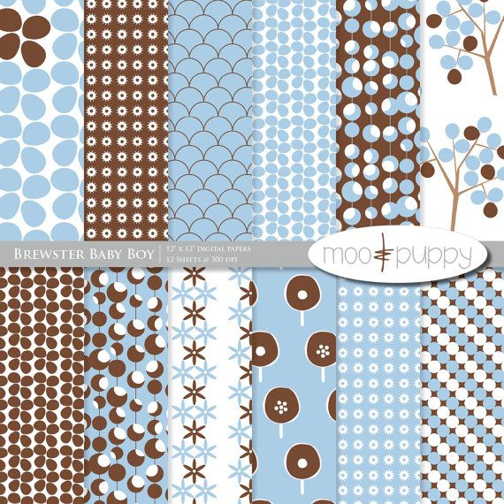 Brewster Baby Boy Digital Scrapbook Paper Pack By Mooandpuppy Https