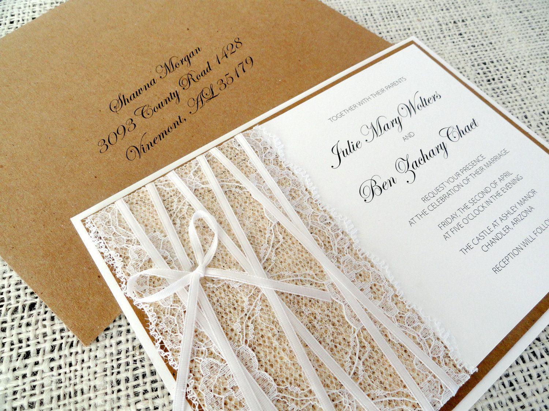 Burlap and Lace Rustic Wedding Invitations - BURLAP AND LACE - Kraft ...